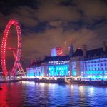 London Eye in roter Beleuchtung