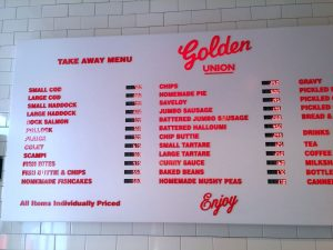 Take away menu Tafel